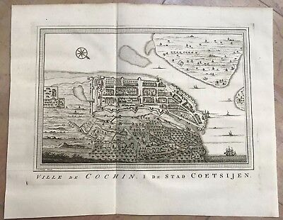 INDIA PLAN OF COCHIN 1757 BY BELLIN / SCHLEY ANTIQUE ENGRAVED MAP XVIIIe CENTURY