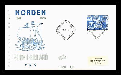 Dr Jim Stamps Norden Viking Ships First Day Issue Finland Cover 1969