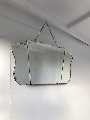 Vintage Frameless Mirror art deco beveled edged frameless wall mirror with chain