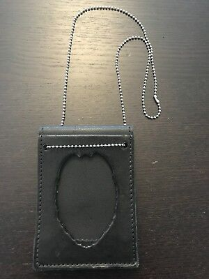Boston Leather Neck Badge Holder With Reverse ID