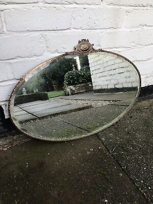 Antique Coper Bevelled Mirror Vintage Old Mirror Copper Framed