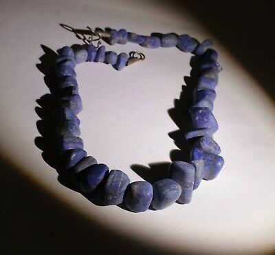 Large Ancient Carved Lapis Bead Necklace - No Reserve 04231