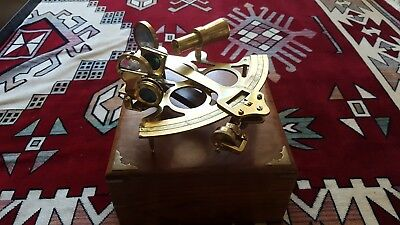 Brass Ship Sextant - Vintage Nortical Sailing - Wooden Box