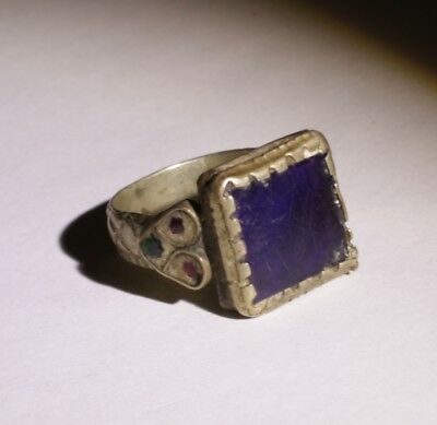 Nice Post Medieval Silver Ring With Lapis - No Reserve! 02344