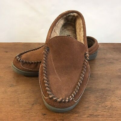 db9d21307d9 Minnetonka Pile Lined Hardsole Suede Leather Slippers Mens Size 9 (S6)