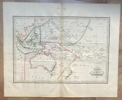 OCEANIA by HUOT DATED 1835 XIXe CENTURY LARGE ANTIQUE COPPER ENGRAVED MAP