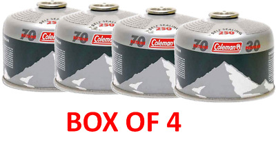 BOX OF 4 Coleman 250 Lamp Heater Stove Camping Fishing disposable gas cartridge