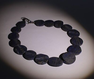 Large Ancient Carved Lapis Bead Necklace - No Reserve 0321