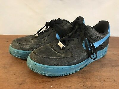 pretty nice 94332 4bb86 Nike Air Force 1 Low 488298-042 Black Vivid Blue Athletic Skater Shoes Size  9.5