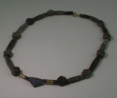 Quality Ancient Carved Lapis & Gold Bead Necklace  - No Reserve