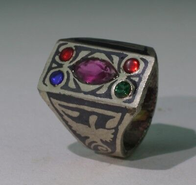 Nice Post Medieval Silver Ring With Glass Stones - No Reserve!!