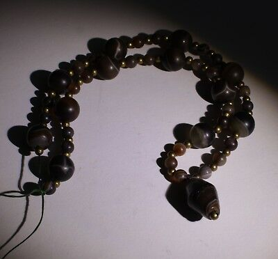 Large Ancient Carved Agate Bead Necklace - No Reserve 014