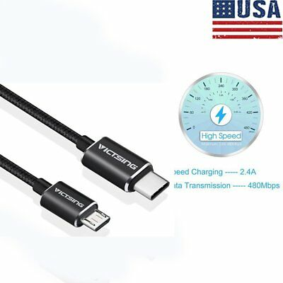 2PCS Victsing Type-C to Micro USB2.0 Male to Male Sync Data Charger Cable Useful