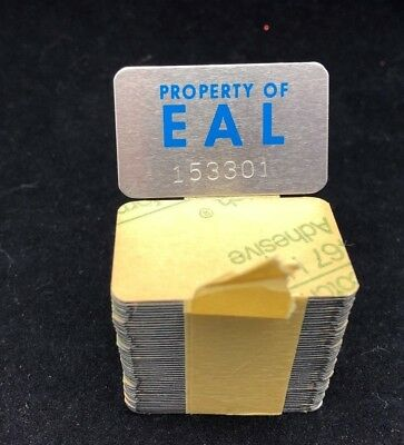 Vintage Eastern Airlines Self Adhesive Metal Tags - Property Of Eal - Lot Of 50