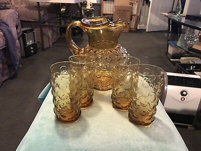 Vintage Glass Art Retro Bubble Glass Pitcher With Reed Handle & 4 Glasses
