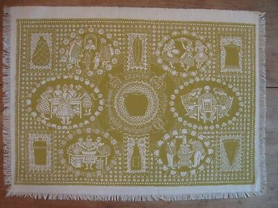 """Folly Cove Designers Placemat/Print """"Baked Bean Supper"""" Peggy Norton 1954 RED"""