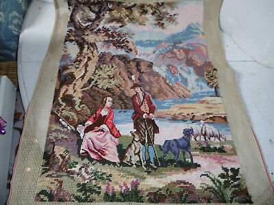 Needlepoint tapestry picture 18th century couple completed, very good condition