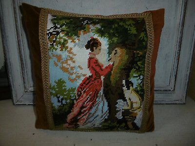 Vintage needlepoint tapestry cushion lady with dog, very good condition