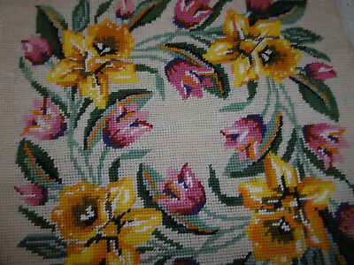 Floral needlepoint tapestry picture completed daffodills very good condition