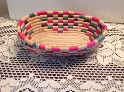 Vintage Hand Woven Coiled Basket Bowl (multi color)