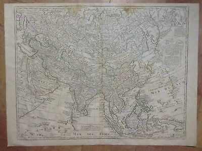 Asia Southeast Asia Dated 1779 Guillaume De L'isle Large Antique Engraved Map