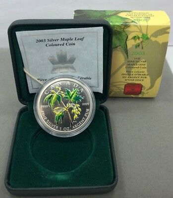 2003 $5 Canada Silver Maple Leaf Coloured Coin 1oz 9999 Fine Silver w/ Box & COA