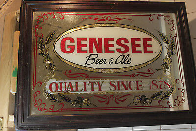 Vintage GENESEE framed BEER MIRROR bar sign man cave advertising 23x17
