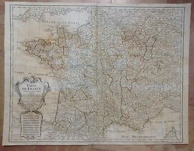 France Dated 1781 Guillaume De L'isle Large Antique Engraved Map 18Th Century