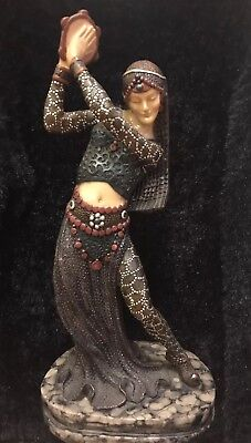 Stunning Art Deco Gypsy Belly Dancer Figurine On Marble Style Base