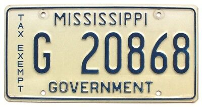 Vintage Mississippi 1970s TAX EXEMPT GOVERNMENT License Plate G 20868