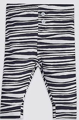 M&s Baby Girls Size 0-12 Months Animal Print Stretch Cotton Leggings Trousers