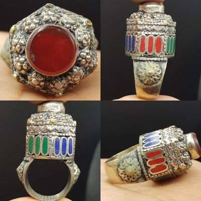 Wonderful Carnelian stone Old Unique Crown Lovely Ring   # 7i