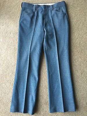 Vintage 36 x 30 Mens Pants Polyester Leisure Suit Blue Straight 1970's 70's bell