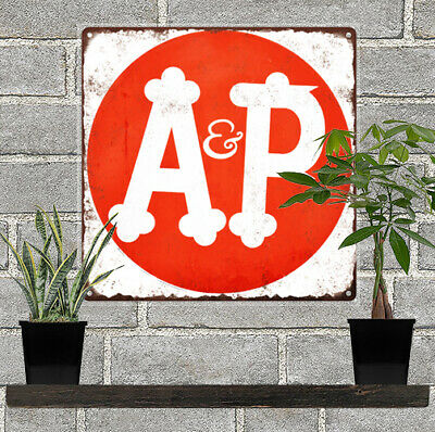 """A & P Grocery Store Metal Sign Advertising Repro  12x12"""" 60208"""