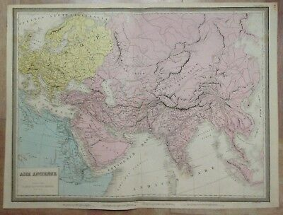 ASIA ARABIA 1861 by ANDRIVEAU-GOUJON 19e CENTURY LARGE ANTIQUE ENGRAVED MAP