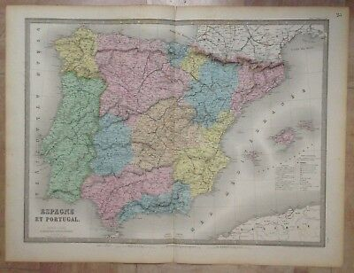 SPAIN PORTUGAL 1863 by ANDRIVEAU-GOUJON 19e CENTURY LARGE ANTIQUE ENGRAVED MAP