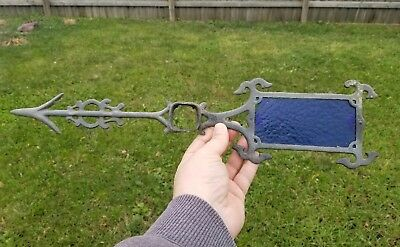 Antique Lightening Rod Metal Weathervane Arrow Tail & Blue Glass