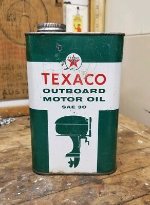 Old Vintage Texaco Outboard Sae 30 Motor Oil Tin / Metal 1 Quart Oil Can