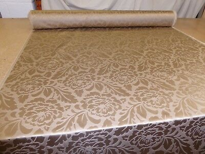 Job Lot - 10m - TAUPE GOLD - Floral Jacquard Furnishing Fabric (Double Sided)