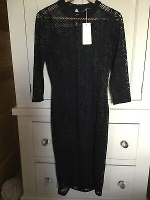 Marks and Spencer Per Una navy blue lace, below knee, 3/4 sleeve dress size 8
