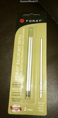 1-2pk FORAY Ballpoint Refills Med Point 1.0mm Blk Ink for Pilot & Papermate NEW
