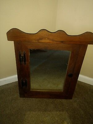 """Antique Vintage Wood Mirrored Wall Mount Medicine Cabinet 19"""" x 18"""" & 3 Shelves"""