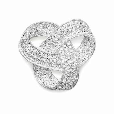 Love Knot Pin Brooch Crystal Plated with Fine Silver
