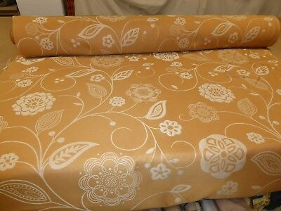 Job Lot - 10m - COPPER ORANGE - Floral Jacquard Furnishing Fabric (Double Sided)