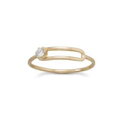 Gold-plated Sterling Wire Style Ring with Offset Side Mounted Cubic Zirconia