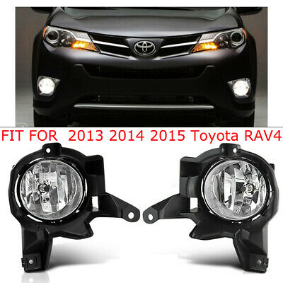 For 2013 2014 2015 Toyota Rav4 Front Bumper Clear Lens Fog Lights / Lamp L+R