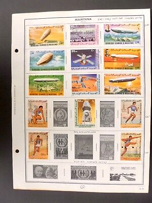 Mauritania 23 Postage Stamps on Album Pages MH & Used - See Description & Images