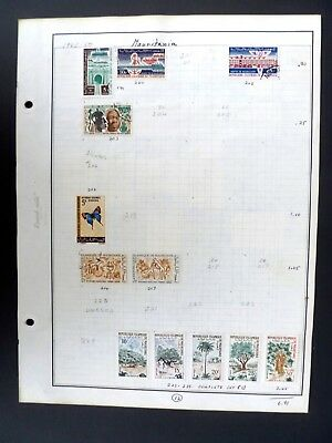 Mauritania 24 Postage Stamps on Album Pages MH & Used - See Description & Images