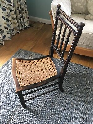 ANTIQUE BOBBIN CARVED CHAIR Turned . Bedroom / Hall Bergere Wicker Seat