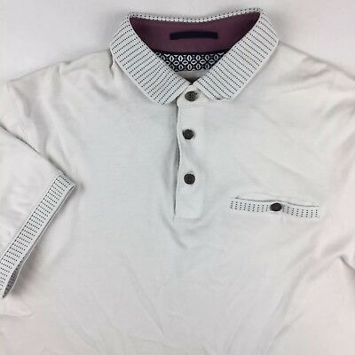 56b5ff23f5fd9 Ted Baker London Mens Size 4 Polo Shirt Pocket White Blue Dotted Stripes